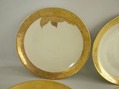 Vintage 6 Plates Noritake M Gold and White China by oldandnew8, $29.00
