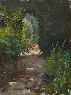 daily painting titled Path to the herb garden, la Madelene #3 - click for enlargement
