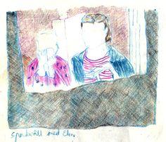 miss u elin color pencil sketchbook drawing spa evening