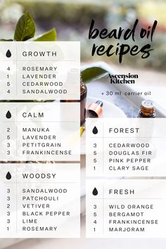 Homemade Beard Oil Blends - use jojoba and argan oil as base Homemade Beard Oil, Diy Beard Oil, Homemade Body Butter, Homemade Deodorant, Whipped Body Butter, Shea Butter, Essential Oil Blends, Essential Oils, Beard Growth Tips