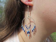 Blue Beaded Silver Wire Double Hoop Earrings by TheHempChick, $24.99