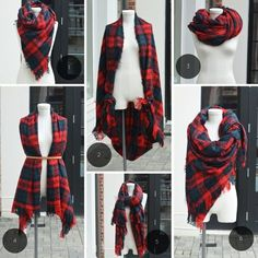 Original ideas for wearing and tying a scarf as an accessory How To Wear A Blanket Scarf, Ways To Wear A Scarf, How To Wear Scarves, Mode Outfits, Fall Outfits, Fashion Outfits, Mode Kimono, Diy Clothes, Clothes For Women