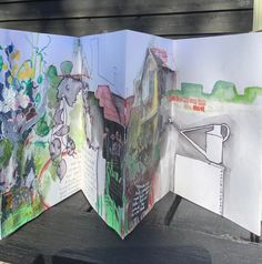 Sketchbook Drawings, Sketching, Concertina Book, Holiday Signs, Sketchbooks, Painting On Wood, Collage Art, I Am Awesome, Colours