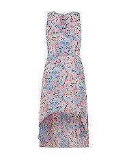Robe ado sans manches bleue à ourlet plongeant avec imprimé fleurs et papillons | New Look