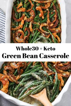 + Keto Green Bean Casserole - HELE - + Keto Green Bean Casserole This + Keto Green Bean Casserole is a healthier version of the classic holiday side dish! It is gluten free, dairy free, paleo, and delicious. Perfect for Thanksgiving! Healthy Thanksgiving Recipes, Paleo Recipes, Real Food Recipes, Paleo Potluck, Dinner Recipes, Family Thanksgiving, Delicious Recipes, Free Recipes, Breakfast Recipes