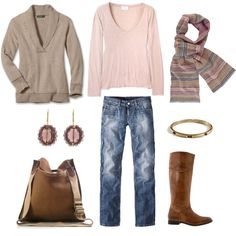 """LOVE this and the colors!  """"Taupe and Pink"""" by bluehydrangea on Polyvore"""