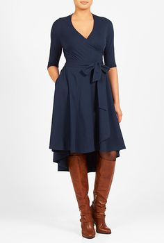 This is the modern type dress I am needing! In black please I <3 this High-low hem cotton knit wrap dress from eShakti
