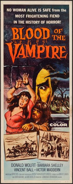 Blood of the Vampire (Universal International, Insert X Horror. Starring Donald - Available at Sunday Internet Movie Poster. Horror Movie Posters, Horror Films, Film Posters, John Le Mesurier, Famous Vampires, Kong Movie, Western Comics, Classic Horror Movies, Vintage Horror