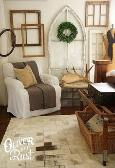 window gallery wall. Love all of this rustic decor!