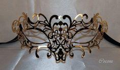 Filigree metal venetian gold mask masquerade mask