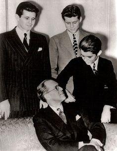 Joseph Kennedy and his sons, Joe, John and young Robert.