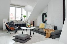 'Minimal Interior Design Inspiration' is a biweekly showcase of some of the most perfectly minimal interior design examples that we've found around the web - Interior Design Examples, Scandinavian Interior Design, Scandinavian Living, Interior Design Inspiration, Design Ideas, Attic Living Rooms, Living Spaces, Attic Design, Attic Apartment