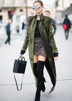 Talk about a statement coat! I love this length formula: duster + mini + thigh highs + cool accessories = chic. x