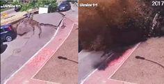 กล้องวงจรปิดเผยนาทีท่อประปาใต้ดินระเบิด พ่นน้ำทะลักท่วม