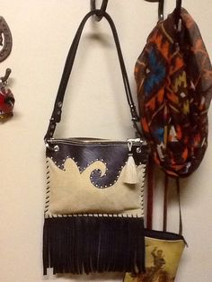 Cream Leather Western Purse with shoulder or Cross by RodeoMomKat, $80.00
