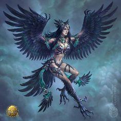 Crow girl by gugu-troll on DeviantArt Fantasy Art Women, New Fantasy, Fantasy Races, Fantasy Dragon, Fantasy Girl, Dark Fantasy, Fantasy Character Design, Character Design Inspiration, Character Art