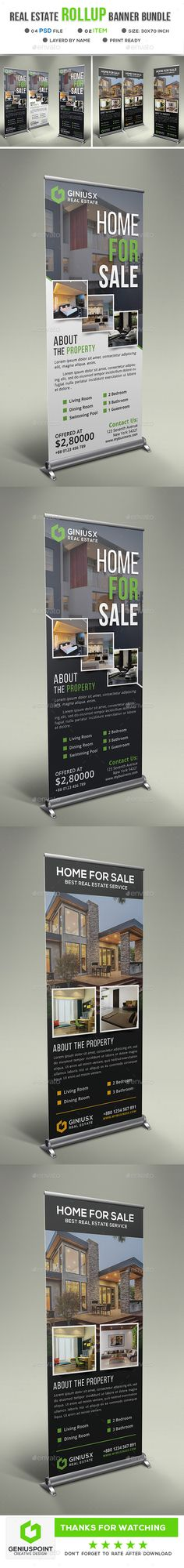 Real Estate Roll Up Banner Template PSD Bundle