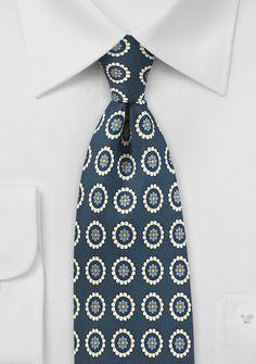 Dark Navy and Cream Medallion Print Tie | $20