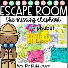 The Missing Elephant- Alphabet Escape Room School Stuff, Back To School, Virtual Games, Letter Of The Week, Kindergarten Centers, Theme Days, Letter Recognition, Jungle Theme, Escape Room