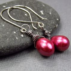 Oxidized Black Dark Pink Earrings in Sterling by AmpleGoddess