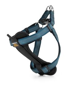 Check out this Teal Blue StarLight Reflective Dog Harness. It protects your dog without choking him!