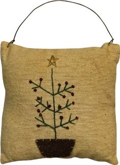 "$5.99-$5.99 Feather Tree Folk Art Pillow Ornament - Our Feather Tree Mini Pillow Ornament will add primitive charm to your holiday decor. The tree is hand embroidered on antique-look fabric with a small country print on the back. It is 3-3/4"" x 3-3/4"" and has a wire hanger. http://www.amazon.com/dp/B00493Y438/?tag=pin2wine-20"