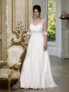bdf9fc1fe914d Shop affordable A-Line Long Scoop Neck Half Sleeve Empire Chiffon Brush  Train Low-V Back Waist Jewellery Dress at June Bridals! Over 8000 Chic  wedding, ...