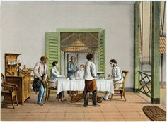 Dining at home during colonial time served by servants