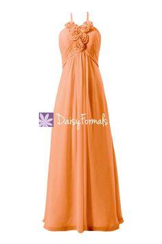 Orange Chiffon Bridesmaid Dress Halter Neckline Chiffon Party Dress (BM325L)