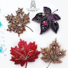 Beaded Jewelry Designs, Handmade Beaded Jewelry, Brooches Handmade, Bead Jewellery, Embroidery Leaf, Bead Embroidery Jewelry, Bead Crafts, Jewelry Crafts, Hand Work Design