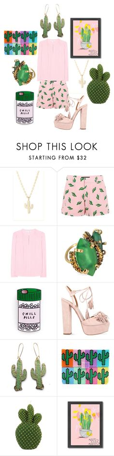 """Cactus Flower"" by pampire ❤ liked on Polyvore featuring Minor Obsessions, American Retro, Diane Von Furstenberg, Erickson Beamon, Aquazzura, Rosita Bonita, Mira Mikati and Americanflat"