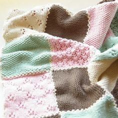 Baby blanket in patch work knitting