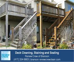 http://branson.renewcrewclean.com – Yes, we regularly clean 2-story and 3-story decks and decks with stairs. Renew Crew of Branson has all the equipment needed to get a uniform clean and color for your entire deck. We serve Branson plus Stone and Taney Counties. Free estimates.