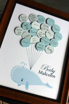Baby Shower Guest Book  Whale with Balloons  by SayAnythingDesign, $39.75