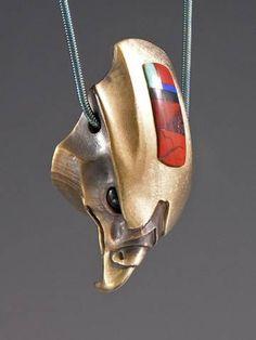 Bronze Stylized Hawk w/ Red Jasper Intarsia Inlay/ Plain Pendant