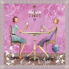 Square card by Mila Marquis by MarquisWonderland on Etsy Tee Kunst, Art Fantaisiste, Art Carte, Square Card, Tea Art, Jolie Photo, Whimsical Art, Decoupage, Aurora Sleeping Beauty