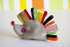 Teething hedgehog  stuffed animal handmade baby toy
