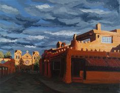 Los Farolitos, Santa Fe, New Mexico, (The Lanterns) original fine art American southwest architecture cityscape oil painting on canvas by Erin Fickert-Rowland