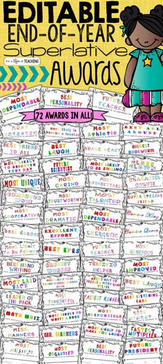 72 Superlative Awards for students! Perfect for the end of the year!
