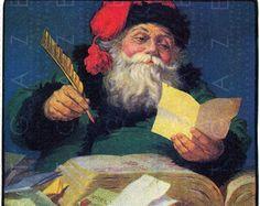 Santa Claus Reads Children's Letters. Christmas Vintage Illustration. Vintage Christmas Digital Download. Santa Printable.