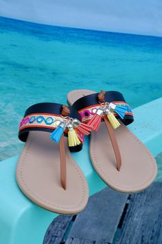 20e6f539b5e146 Items similar to Womens Black Boho Thong Tassel Sparkle Flip Flop Sandal
