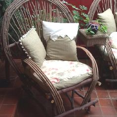My Handmade Willow Chairs and Re-Purposed Cushions and Pillows: Thank goodness for electric drills and fresh willow branches! My willow chair was comfortable, but looked bare without cushions and pillows. I always buy antique pillow cases, laces and ribbons to be re-purposed into cushions and pillows. To fill the cushions (I, also, made one more willow chair and a love seat,) I recovered old lawn furniture cushions, just basting an opening in the back of each, so they can be removed, washed…