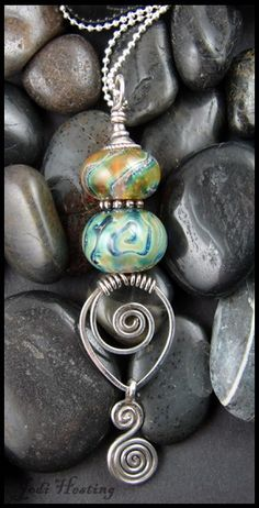 Sterling and Lampwork Pendant www.beadworx.com