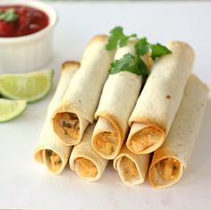 Baked Creamy Chicken Taquitos (make healthier with lighter ingredients)