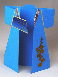 handmade kimono shaped card ... bright blue with gold accents ... lovely ... Hanko Designs ...