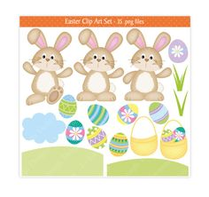 Easter Clip Art Easter Clipart Easter Bunny by JoKavanaghDesigns