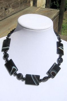 Banded Onyx Necklace   Onyx Necklace  Black Banded Onyx by irideae, $69.00