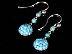 Victorian 9Ct Gold and Turquoise drop earrings