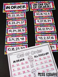 Putting numbers in order math center where kids sort sets of numbers by whether or not they are in order then fixing the ones that aren't! Such a fun first grade math center activity First Grade Curriculum, Teaching First Grade, First Grade Reading, Third Grade Math, First Grade Classroom, Math Classroom, Teaching Math, Future Classroom, Grade 1