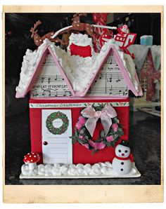 "Inspired:  Decorate a cardboard / chipboard house (or a wooden birdhouse) with craft paper, fake snow (leaves or moss could be used for other seasons) and other decorative embellishments (cake toppers, old buttons, small floral items, doll-house decor, etc.) -- Now if I can only figure out how to hinge the door or turn it into a ""box"" it would be great as packaging for an extra gift as well!"